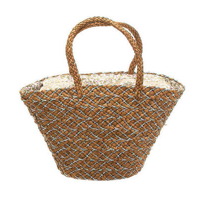WHITE LABEL - Cabas-WHITE LABEL-Sac panier paille doublure liberty assortie avec p