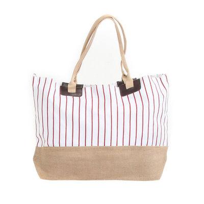 WHITE LABEL - Sac de plage-WHITE LABEL-Grand sac cabas à rayures pochette unie fond rayé