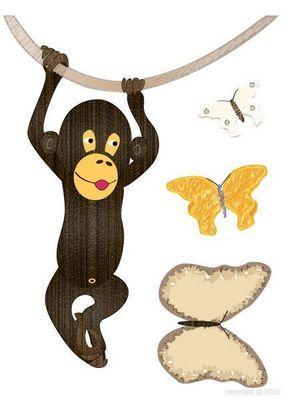 BABY SPHERE - Sticker Décor adhésif Enfant-BABY SPHERE-Sticker singe et papillons 30x42cm