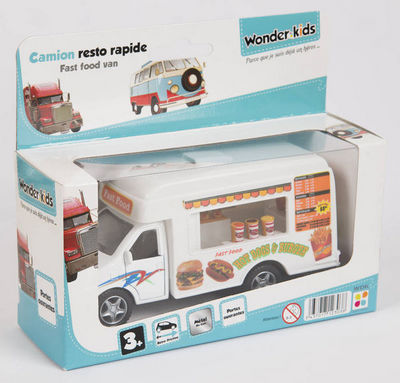 WONDER KIDS - Voiture miniature-WONDER KIDS-Camion marchand de burger à rétro friction en méta