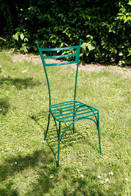 BARCLER - Chaise de jardin-BARCLER-Chaise de jardin laura en fer forgé vert 39x34,5x8