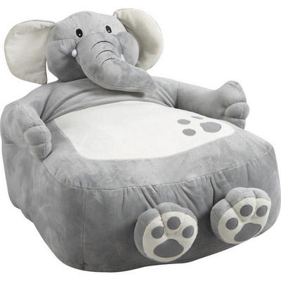Aubry-Gaspard - Fauteuil Enfant-Aubry-Gaspard-Fauteuil pouf Éléphant en coton et peluche 60x50x5
