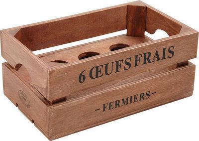 Aubry-Gaspard - Panier à oeufs-Aubry-Gaspard-Boîte à oeufs en bois 20x12x9cm