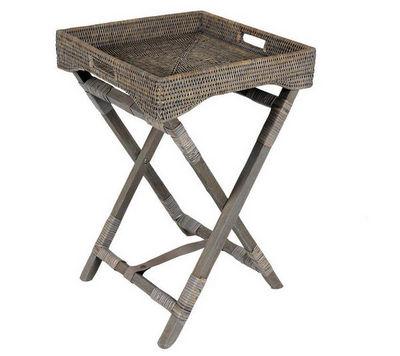 Aubry-Gaspard - Table d'appoint-Aubry-Gaspard-Plateau sur pied en bois et rotin patiné gris 40x4
