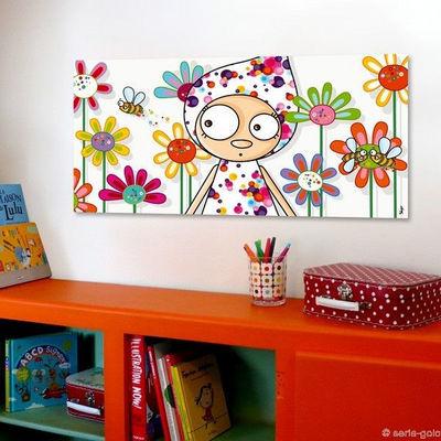 SERIE GOLO - Tableau décoratif enfant-SERIE GOLO-Toile imprimée perlinpinpin 78x38cm