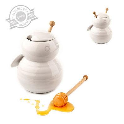 Balvi - Pot à miel-Balvi-Pot à miel bumble bee blanc en céramique 16,5x11,5
