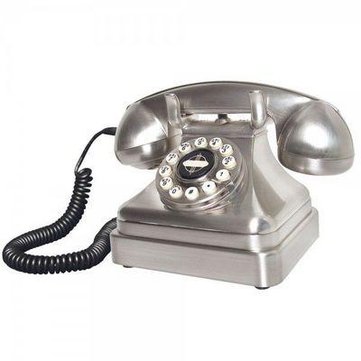 WHITE LABEL - Téléphone décoratif-WHITE LABEL-Téléphone Lobby Chrome