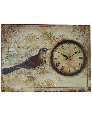 L'HERITIER DU TEMPS - Horloge murale-L'HERITIER DU TEMPS-Horloge Plaque Métal Oiseau