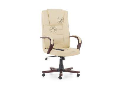 BELIANI - Fauteuil de massage-BELIANI-avec fonction de massage, cuir véritable, beige