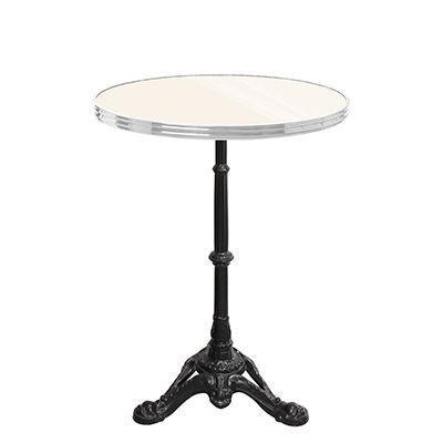 Ardamez - Table bistrot-Ardamez-Table de bistrot émaillée ivoire / inox / fonte