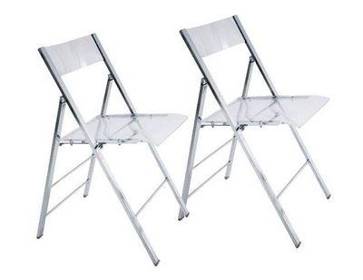 WHITE LABEL - Chaise pliante-WHITE LABEL-Lot de 2 chaises pliantes SEAL transparentes et ch