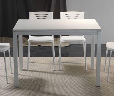 WHITE LABEL - Table de repas rectangulaire-WHITE LABEL-Table repas extensible MAJESTIC 130 x 80 cm blanch