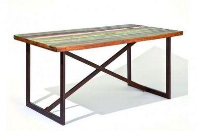WHITE LABEL - Table de repas rectangulaire-WHITE LABEL-Table repas unique COLORI en bois de manguier recy