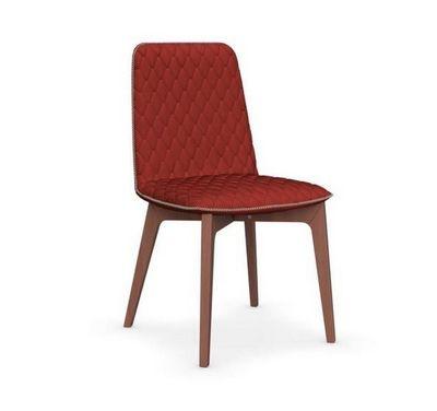 Calligaris - Chaise-Calligaris-Chaise SAMI en hêtre et tissu rouge de CALLIGARIS