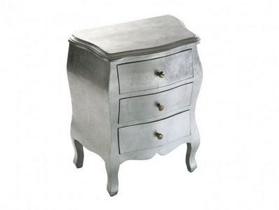 WHITE LABEL - Table de chevet-WHITE LABEL-Satellite petite commode bois 3 tiroirs argent