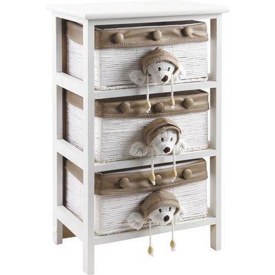 Aubry-Gaspard - Meuble de rangement bas enfant-Aubry-Gaspard-Commode enfant en bois blanc 3 tiroirs