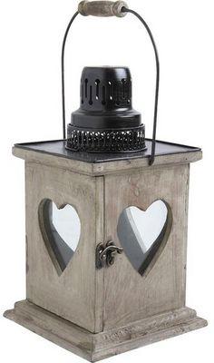 Aubry-Gaspard - Lanterne d'extérieur-Aubry-Gaspard-Lanterne coeur en bois vieilli