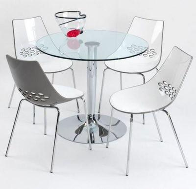 Calligaris - Table de repas ronde-Calligaris-Table repas ronde PLANET 90x90 en verre et piéteme