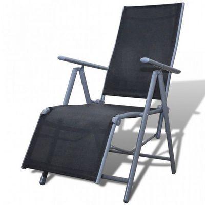 WHITE LABEL - Fauteuil de jardin pliant-WHITE LABEL-Chaise de jardin pliable transat noir