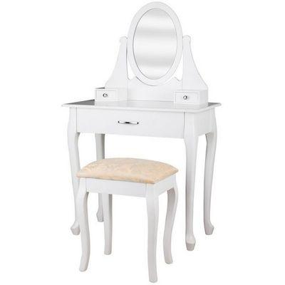 WHITE LABEL - Coiffeuse-WHITE LABEL-Coiffeuse bois blanche miroir tabouret