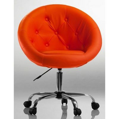 WHITE LABEL - Fauteuil rotatif-WHITE LABEL-Fauteuil lounge pivotant cuir orange