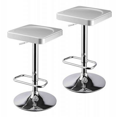 WHITE LABEL - Tabouret de bar-WHITE LABEL-Lot de 2 tabourets de bar blanc et argent