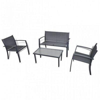 WHITE LABEL - Salon de jardin-WHITE LABEL-Salon de jardin noir table + 2 chaises+ banc