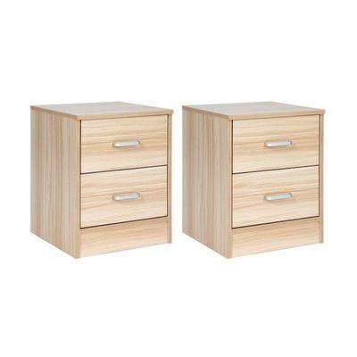 WHITE LABEL - Table de chevet-WHITE LABEL-2 tables de nuit chevet avec tiroir
