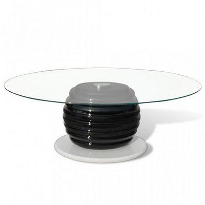 WHITE LABEL - Table basse ronde-WHITE LABEL-Table basse design blanche et noir verre