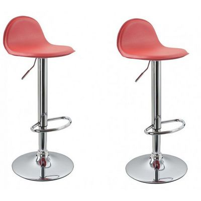 WHITE LABEL - Chaise haute de bar-WHITE LABEL-Lot de 2 Tabourets de bar rouge