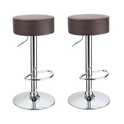 WHITE LABEL - Tabouret de bar-WHITE LABEL-Lot de 2 Tabourets de bar marron