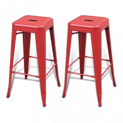 WHITE LABEL - Tabouret de bar-WHITE LABEL-Lot de 2 tabourets de bar factory rouge