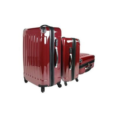 WHITE LABEL - Valise à roulettes-WHITE LABEL-Lot de 3 valises bagage rouge