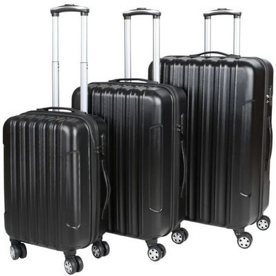 WHITE LABEL - Valise à roulettes-WHITE LABEL-Lot de 3 valises bagage rigide noir