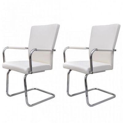 WHITE LABEL - Chaise-WHITE LABEL-2 chaises de salle à manger blanches