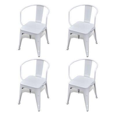 WHITE LABEL - Chaise-WHITE LABEL-4 Chaises De Salle À Manger Acier Factory