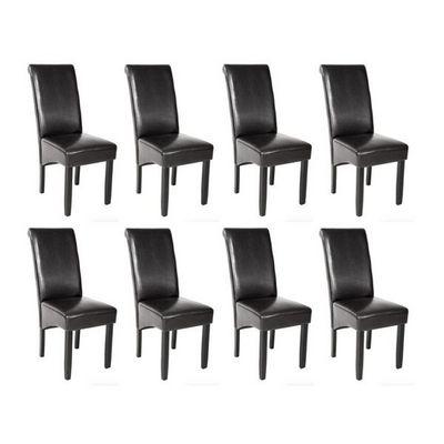 WHITE LABEL - Chaise-WHITE LABEL-8 chaises de salle à manger noir