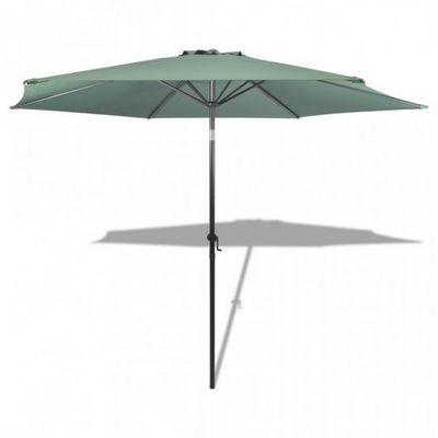 WHITE LABEL - Parasol télescopique-WHITE LABEL-Parasol de jardin manivelle Ø 3m vert