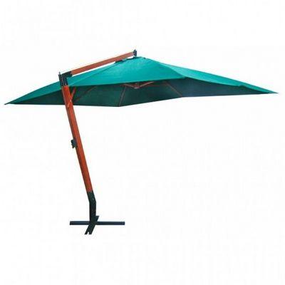 WHITE LABEL - Parasol excentré-WHITE LABEL-Parasol vert déporté 3x4m pied en bois