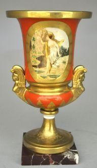 Demeure et Jardin - Vase décoratif-Demeure et Jardin-Urne Style Empire Orange