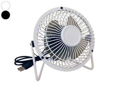 WHITE LABEL - Ventilateur-WHITE LABEL-Ventilateur blanc inclinable pour port USB noir ac