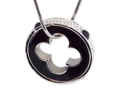 WHITE LABEL - Collier-WHITE LABEL-Collier 80 cm pendentif anneau noir et strass perf