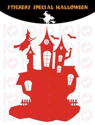 WHITE LABEL - Sticker-WHITE LABEL-Sticker château hanté sorcières