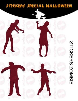 WHITE LABEL - Sticker-WHITE LABEL-Sticker Zombies halloween