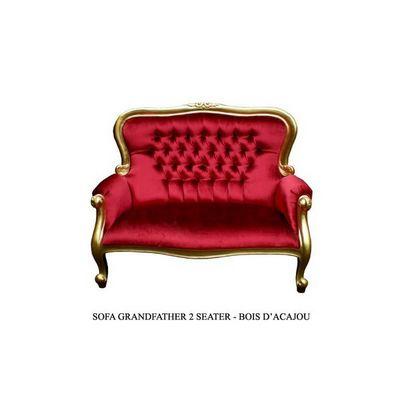 DECO PRIVE - Canapé 2 places-DECO PRIVE-Banquette en velours rouge de style boudoir bois d