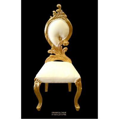 DECO PRIVE - Chaise réception-DECO PRIVE-Chaise baroque Granada dorée et aspect cuir blanc