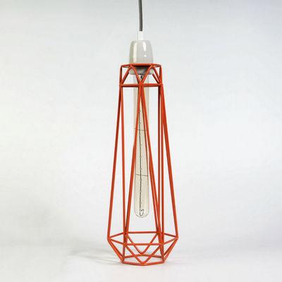 Filament Style - Suspension-Filament Style-DIAMOND 2 - Suspension Orange câble Gris Ø12cm | L