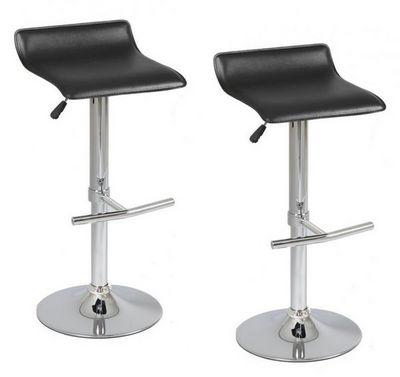 WHITE LABEL - Chaise haute de bar-WHITE LABEL-Lot de 2 Tabourets de Bar LYLI noir