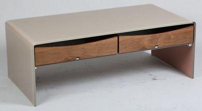 WHITE LABEL - Table basse rectangulaire-WHITE LABEL-Table basse LOFT en verre taupe 2 tiroirs