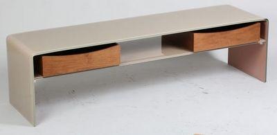 WHITE LABEL - Meuble tv hi fi-WHITE LABEL-Meuble Tv LOFT en verre taupe 2 tiroirs